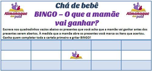 Bingo Para Chá De Fralda com presente