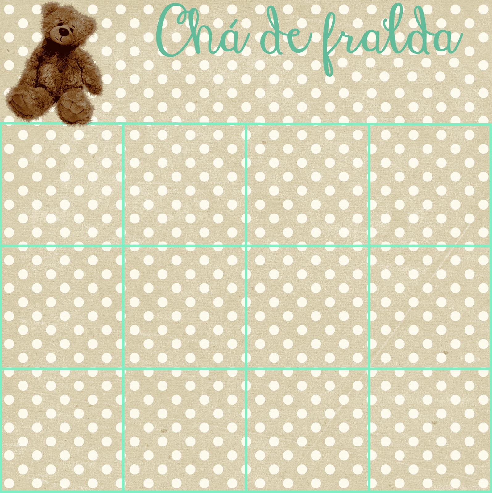modelo cartela de bingo para chá de bebê de graça