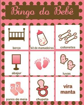 Bingo Do Bebê Para Imprimir marrom e rosa