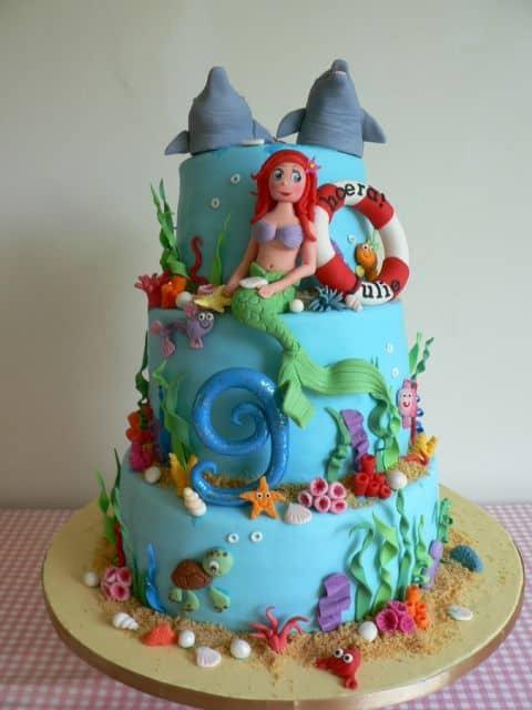 bolo decorado pequena sereia