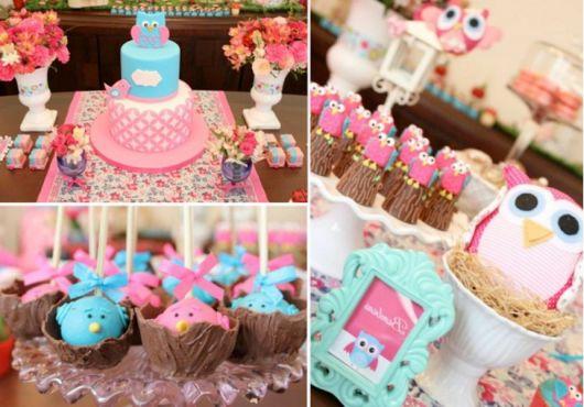fotos festa 1 aninho corujinha azul e rosa