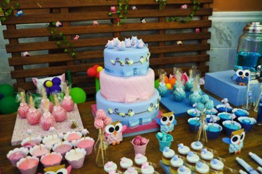 decoração festa infantil corujinha azul