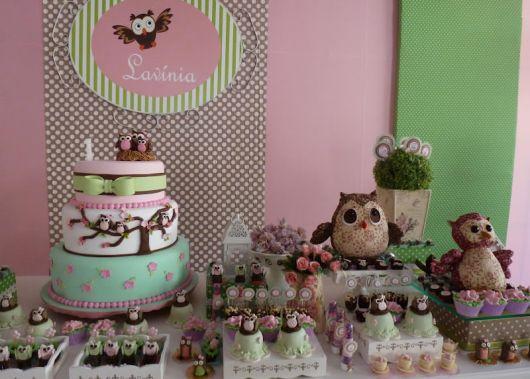 festa corujinha rosa e marrom