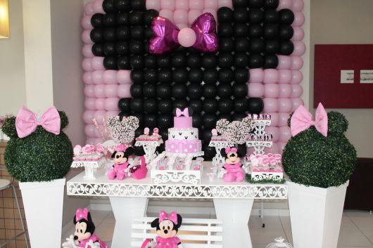 festa da minnie rosa com preto