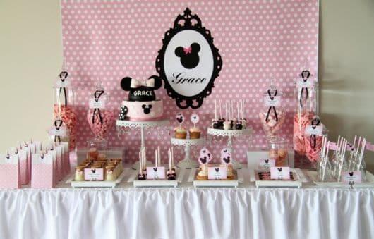 toalha de mesa simples para festa da minnie rosa