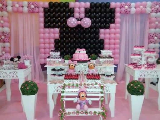 festa da minnie rosa e branco