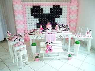 festa infantil minnie rosa clean