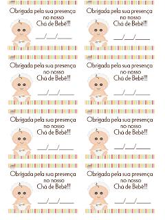 Etiquetas de chá de bebê para imprimir de graça