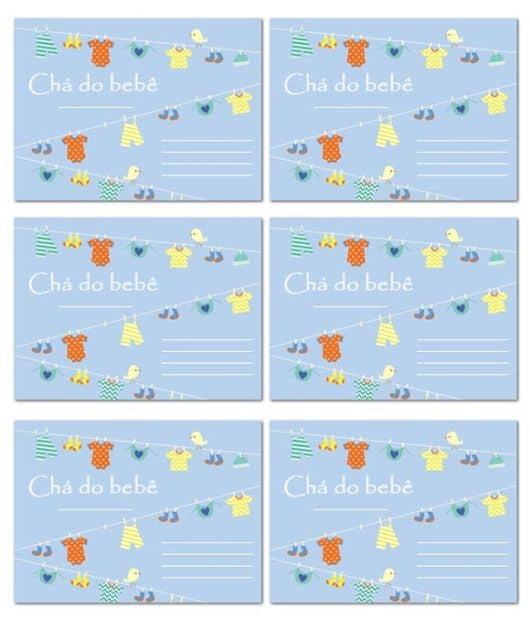 Modelos de cartões para chá de bebê menino para imprimir