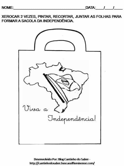 sacola da independência para recortar e montar