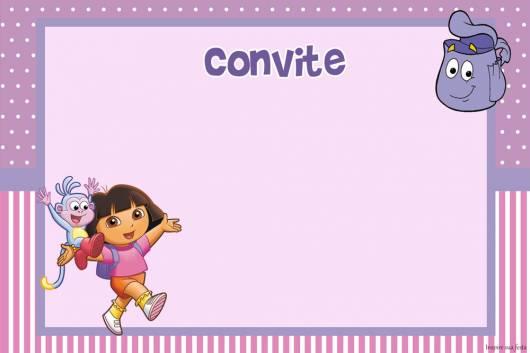 modelo de arte de convite Dora simples