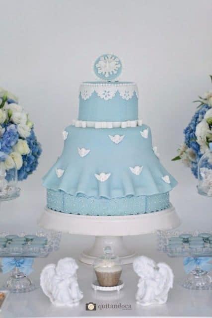 bolo de batizado azul e branco