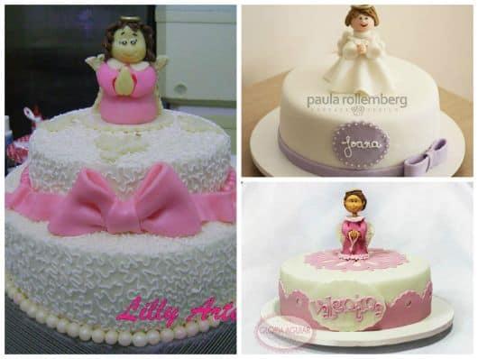 fotos de bolos femininos para batismo