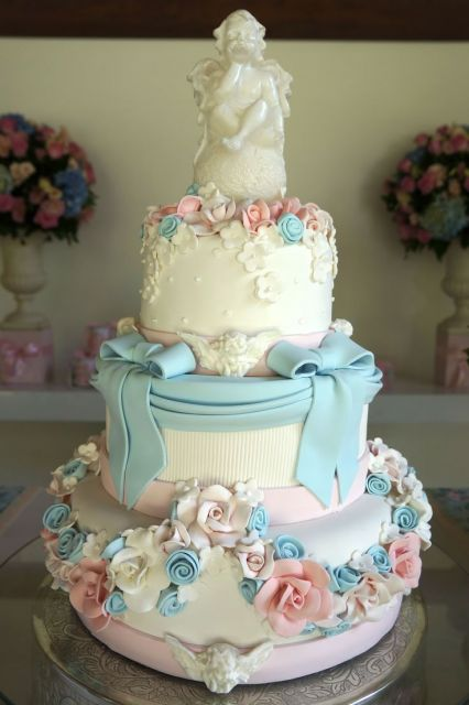 bolo de batizado artístico