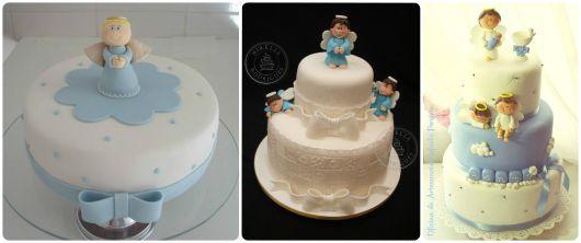 bolo de batizado decorado com anjos