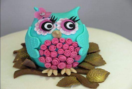bolo de festa corujinha rosa com azul