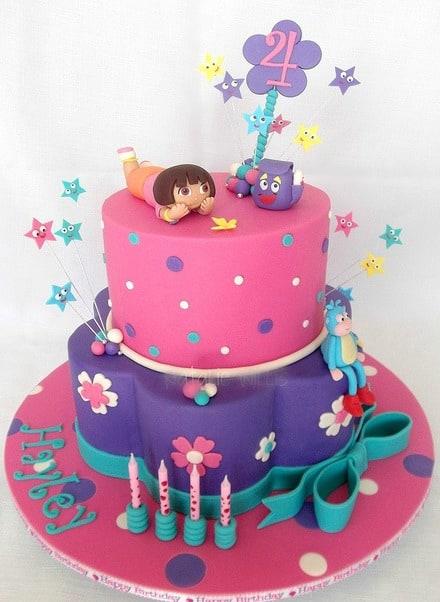 modelo de bolo falso Dora aventureira