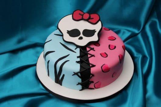 bolo pequeno rosa e azul