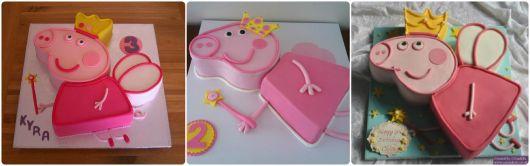 bolo decorado de princesa pig