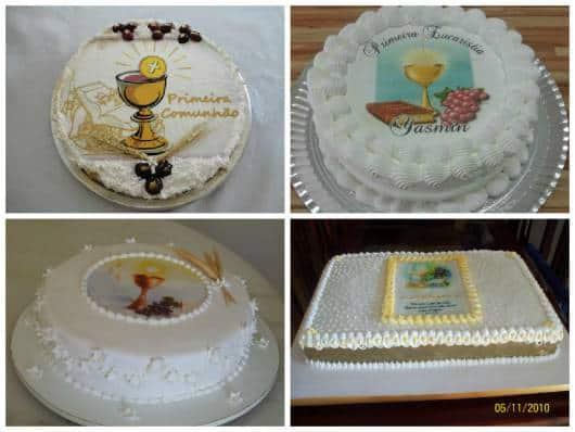 bolo de primeira eucaristia confeitado de chantilly