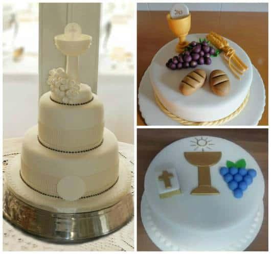 decoração religioso no bolo de primeira comunhão