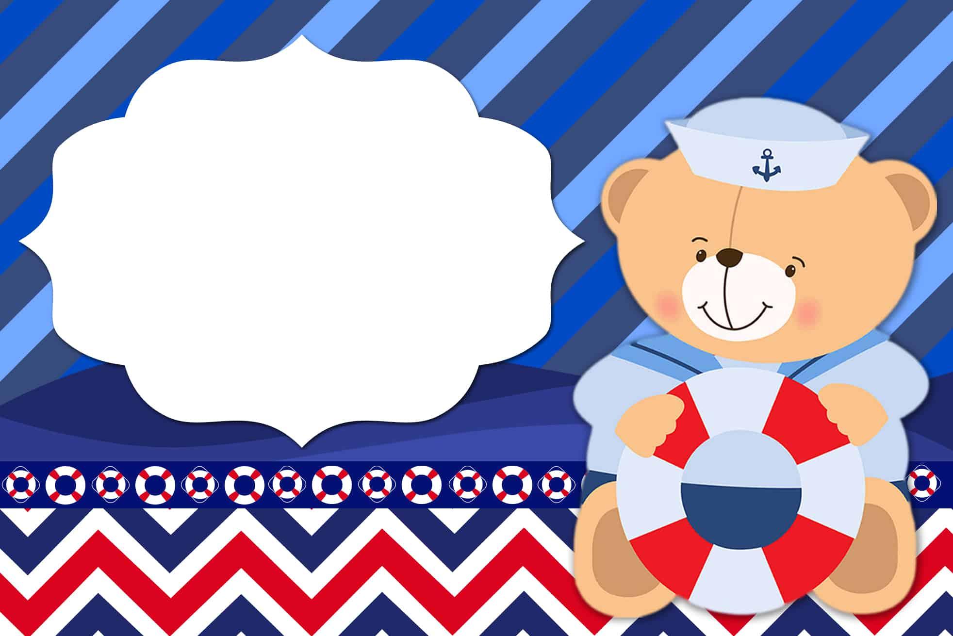 convite ursinho marinheiro grátis