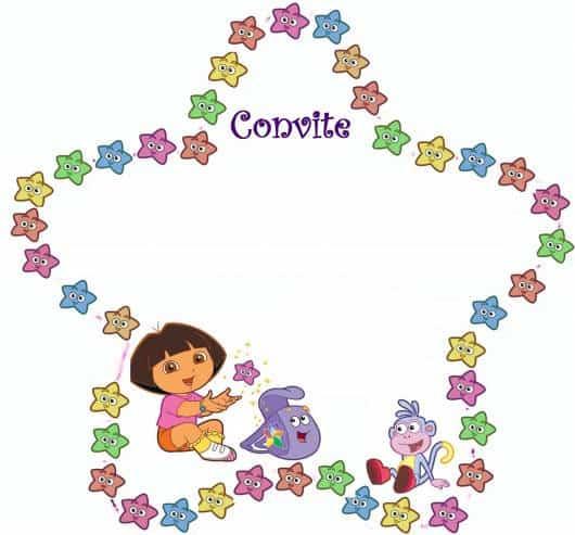 belo modelo de convite Dora aventureira estrelas