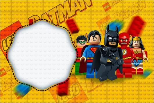 convite para festa super heróis lego