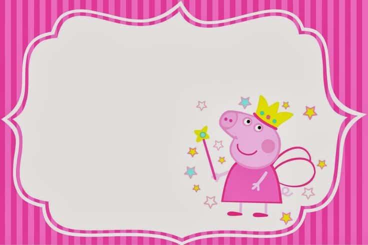 moldura para convite peppa pig princesa