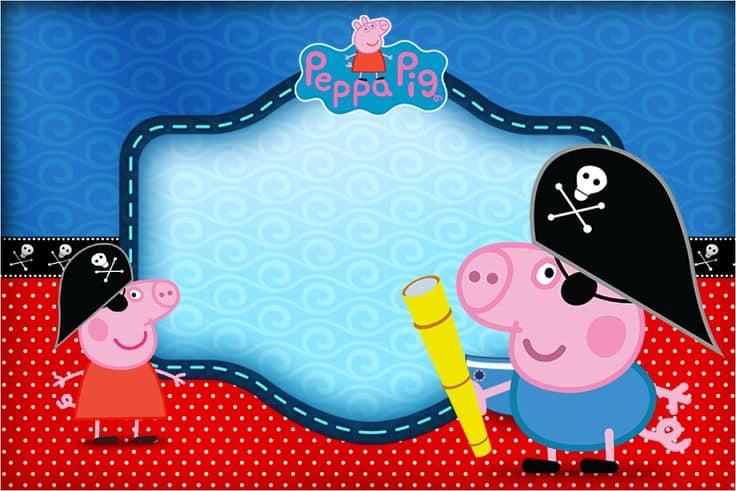 convite peppa pig pirata