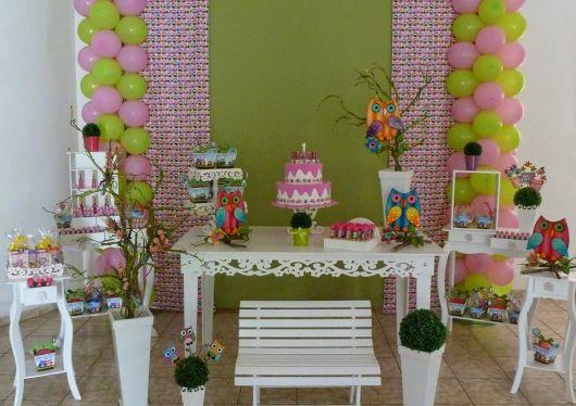 aniversário decorado tema corujinha clean