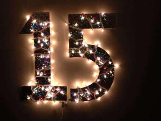 painel de luzes para 15 anos