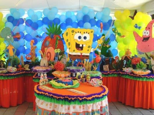 mesa de festa infantil do bob esponja