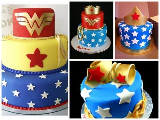 fotos de bolos decorados mulher maravilha