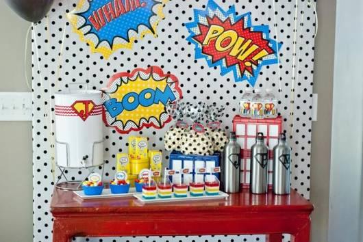 ideia de painel para festa super herói