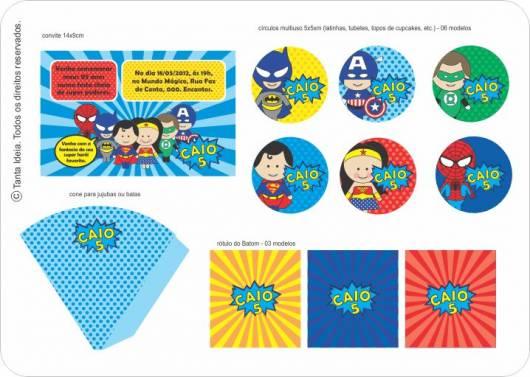 modelo para kit festa super heróis personalizado