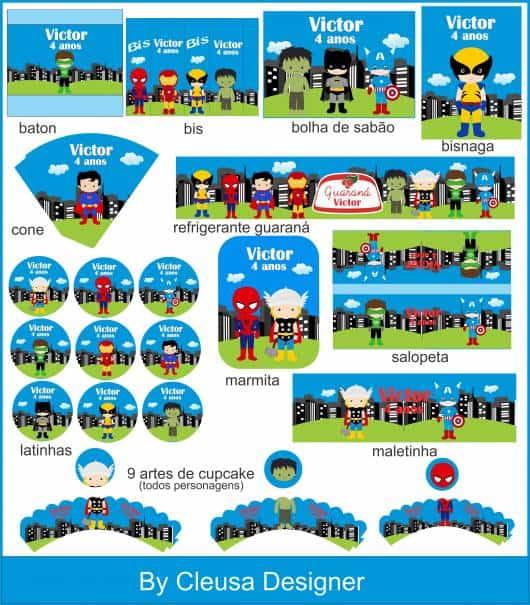 etiquetas para kit festa super heróis personalizados