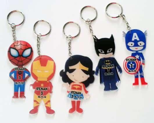 lindos chaveiros lembrancinhas super heróis