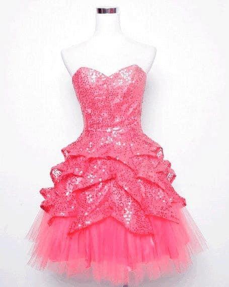 Vestido rosa chique curto para festa de 15 anos