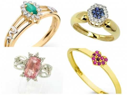anel de debutante com pedra colorida