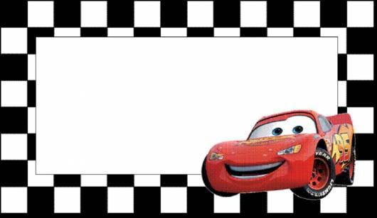 convite carros com detalhes qadriculadas
