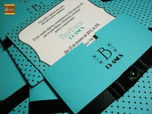 convite de 15 anos preto e azul