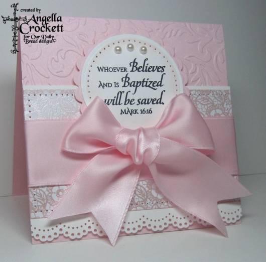 convite rosa de batizado