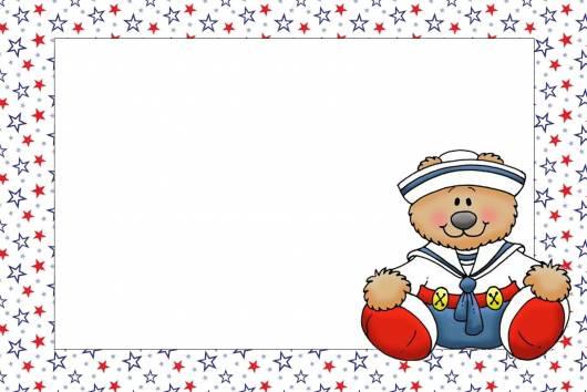 linda arte de convite para festa ursinho marinheiro
