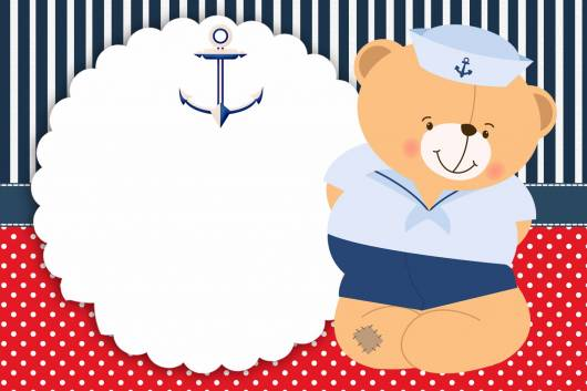 arte de convite ursinho marinheiro pronta