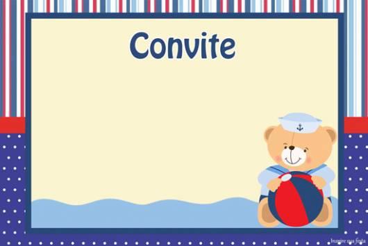 modelo de convite ursinho marinheiro pronto para imprimir