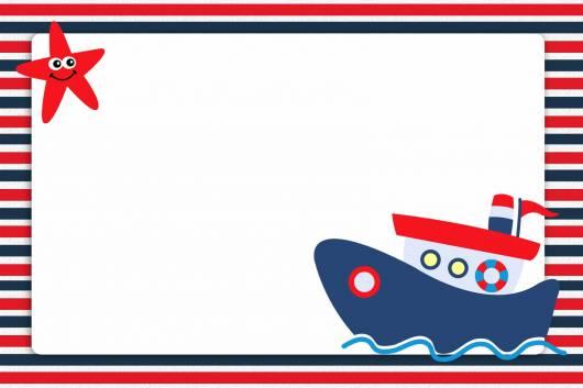 modelo de convite para festa ursinho marinheiro em azul e vermelho