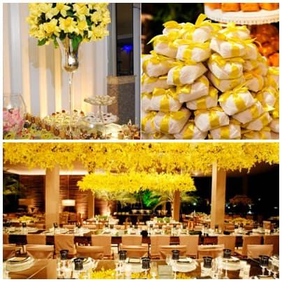 modelo de decoração de festa 15 anos com detalhes em amarelo
