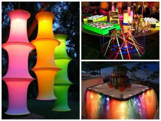 ideias simples para festa neon 15 anos