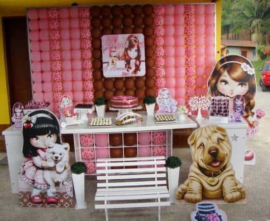 decoração festa jolie com 3 tons de cores